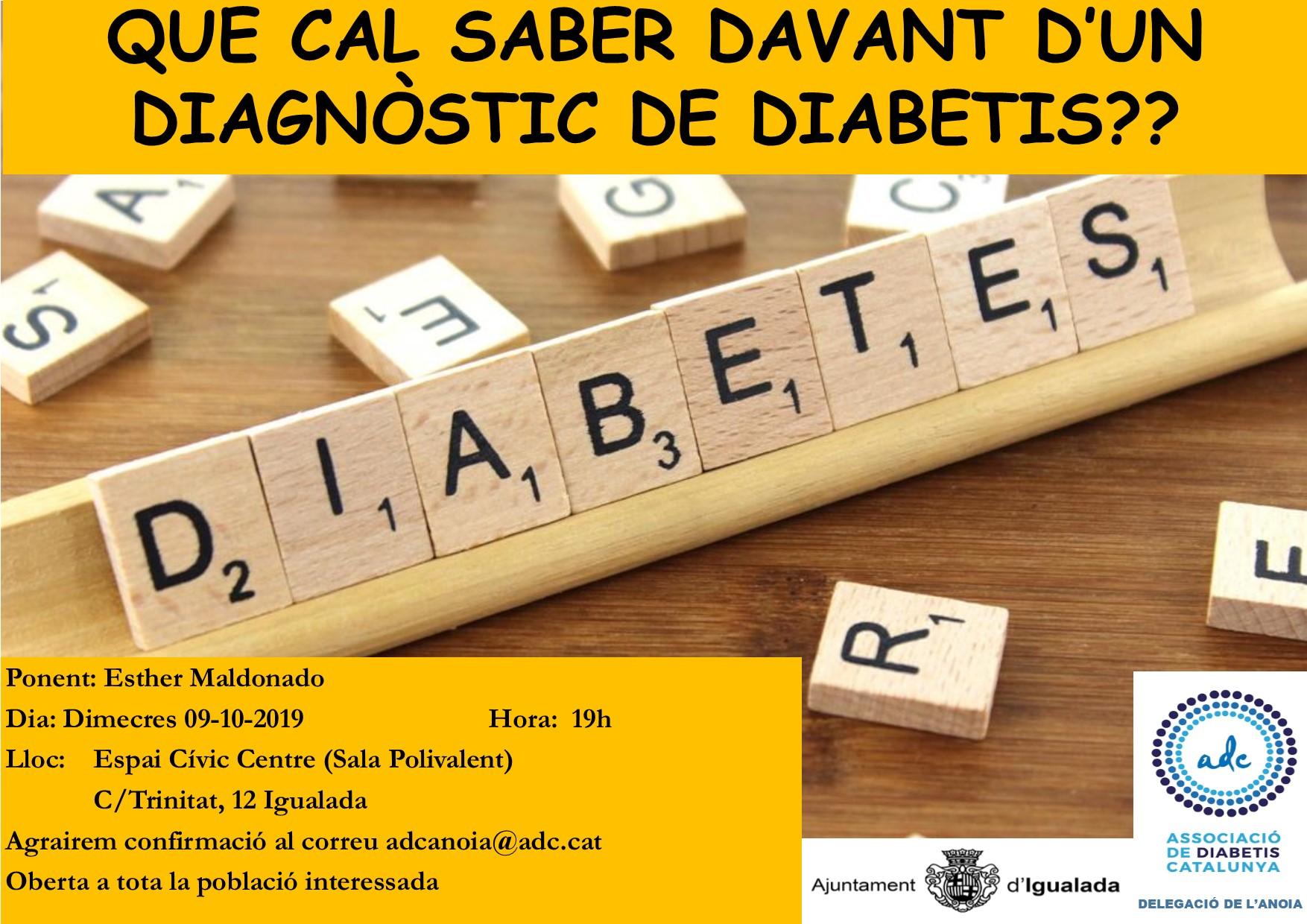 Activitat ADC L'Anoia: què cal saber davant d'un diagnòstic de diabetis?