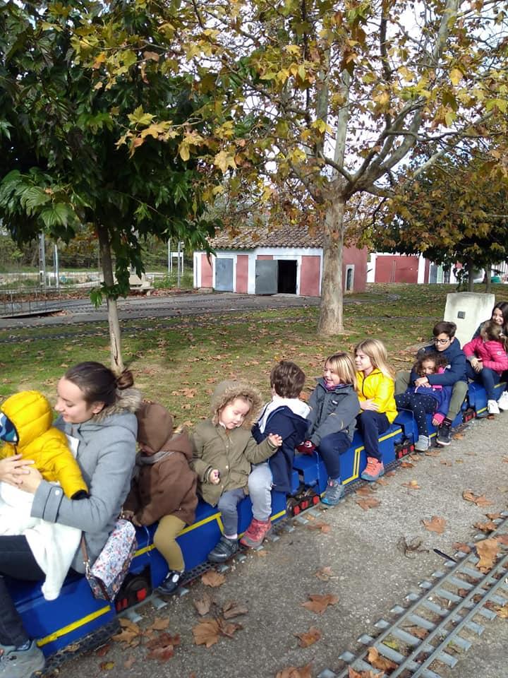 Fotografia de nens en un trenet
