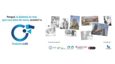 Flyer apaisado sobre la Exposición de DiabetesLAB en Barcelona