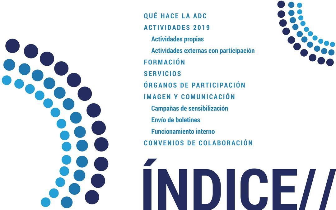 Memoria de actividades 2019 ADC, índice